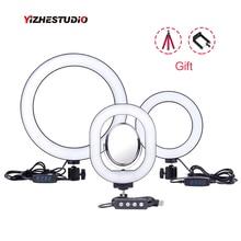Yizhestudio 6 «/10» кольцевые огни с регулируемой яркостью, светодиодный кольцевой светильник для селфи для студий с живым звуком, макияж, фотография с бесплатными штативами, зажим для телефона