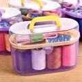 Conveniente Diseño Portátil Kit De Costura Ganchillo Completo Set Enhebrador Aguja Cinta Métrica Herramienta Tijera Caja del Kit de Costura Hogar HG0133