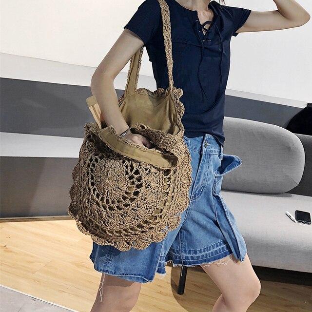 Bohemian Paper rope Straw Bags for Women Big Circle Beach Handbags Summer Vintage Rattan Bag Handmade Kintted Travel Bags 4
