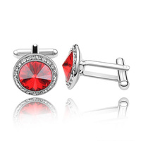 Promotion 3 Color Round 17mm Cuff Links Crystal For Swarovski Elements Gemelos Groomsmen Gift Suit Shirt