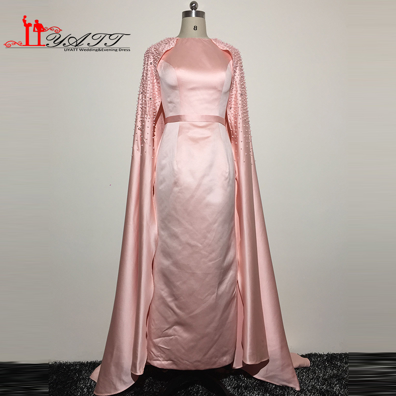 Real Picture 2016 Arabic Vintage Gothic Grecian Pink Heavy Beads Pearls Dubai Long Evening Prom Dress With Shawl Robe de soiree image