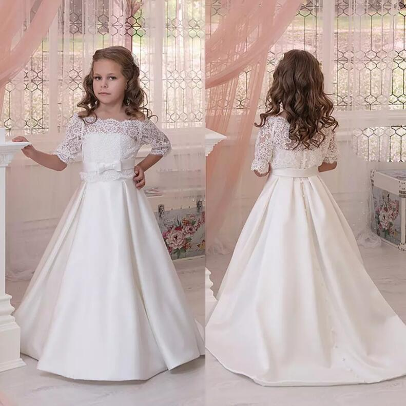 White Lace Flower Girls Dresses with Jacket Ribbon Bow Sash for Weddings Lace Up Girls First Communion Dress fascinating falbala flower lace ribbon women s corset
