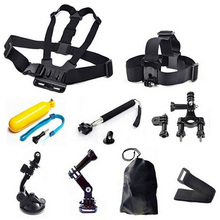 Gopro Accessories set Chest Head Strap Floating Grip Handlebar Seatpost Monopod Suction Cup 9 in 1 Kit For GoPro Hero5 4 2 3 3+
