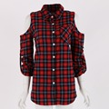 Casual Style Open Shoulder Checked Woman Shirts Women's Tops Lapel Three Quarter Sleeve Plaid Red Blouse S3