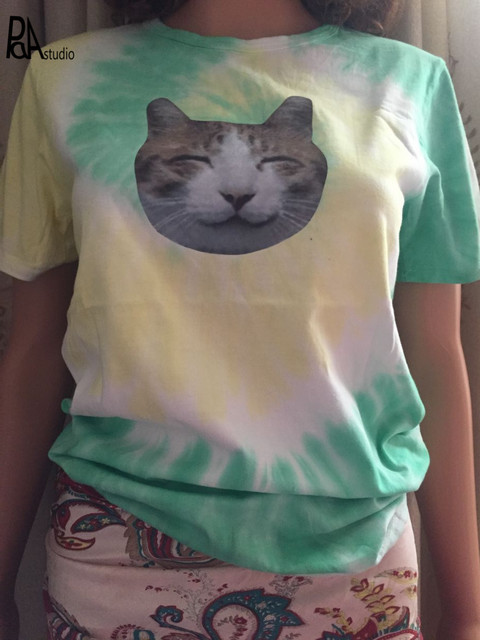 f3e6b1a1 Korean Tie Dye Kawaii Animal CAT/DOG/EAGLE Print Rainbow Paisley Gradient T- shirt Hippie Skateboard Tee Women Men Tshirt Blusa