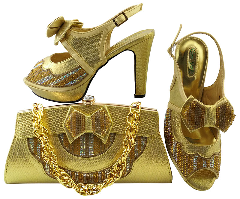 Fashion sandals women gold color newest italian design nice 2018 high heel 4.3 inches shoes and bag matching set SB8098-4 sweet color matching and bow design women s tote bag