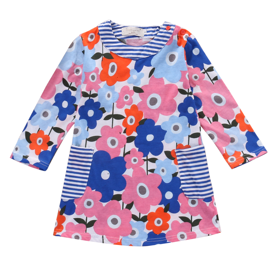 Spring/Autumn Infant Baby Kids Girls Floral Dress Clothes Children Girl Long Sleeve Party Tops T-Shirt Dresses Outfits 1-5T girl spring summer princess dress infant party dress 2015 unicorn print children kids dress for girls autumn dresses