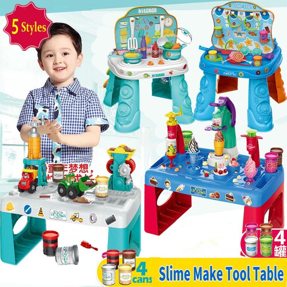 Pâte à modeler Slime faire Table à outils bricolage pâte à modeler et trousse à outils argile molle crème glacée/pâte à modeler douce enfants apprenant jouets fille