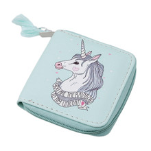 Compact Unicorn Patterned Coin Purse with Tassel