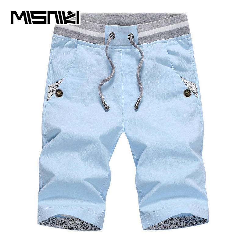 MISNIKI 2018 New Fashion Summer Casual Shorts Men Cotton Solid Beach Mens Shorts Comfortable Male Shorts Homme