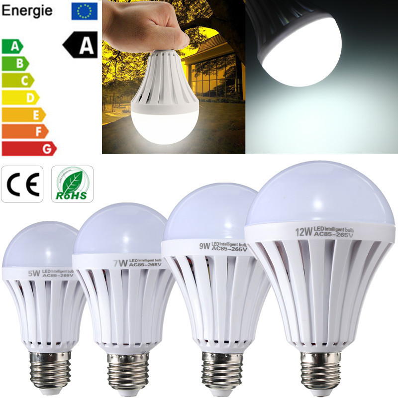 LED Light Bulb E27 5W 7W 9W 12W Energy Saving Globe Lamp Emergency Lighting Pure White Spotlight Bulb Lampada AC85-265V