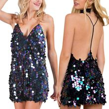 Women Sleeveless Sexy Plunging Deep V-Neck Halter Mini Dress Round Reflective Glitter Sequins Bodycon Backless Cocktail Clubwear