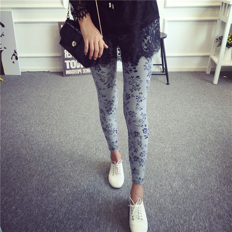 BIVIGAOS Spring Summer Womens Fashion Black Milk Thin Stretch leggings Colored Stars Graffiti Slim Skinny Leggings Pants Female 74