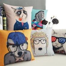 American style Rural Linen Cushion Cover Cartoon Animal Modern fashion Pillow Case Sofa Chair Waist Pillow cover Home Decorative