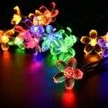 15.75FT Solar Powered 4.8 M 20 Leds de Iluminación de vacaciones Al Aire Libre flores de Cerezo Christams Luces de la Secuencia del Jardín de Luz Solar