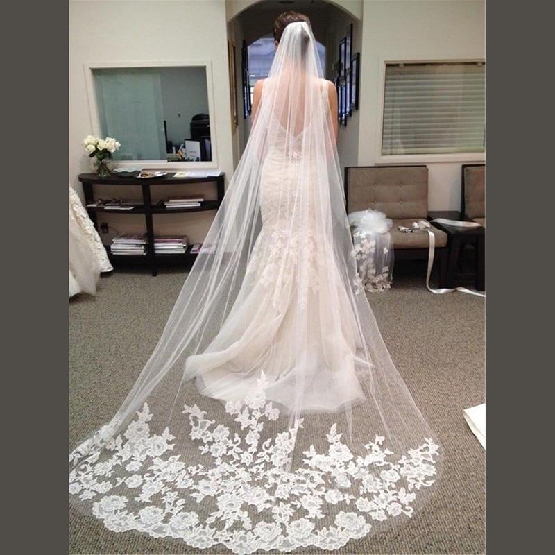 Bridal Veil Accessories 2018 Appliques Tulle Long Cathedral 3 M Wedding Veil Lace Edge Bridal Veils with Comb veu de noiva longo