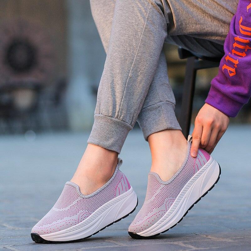 gris Casual Slip Sneakers pourpre Vulcaniser Plat Femme Loisirs Chaussures On Femmes Automne Respirant Noir Dames Lumière Mesh fq5wgZU