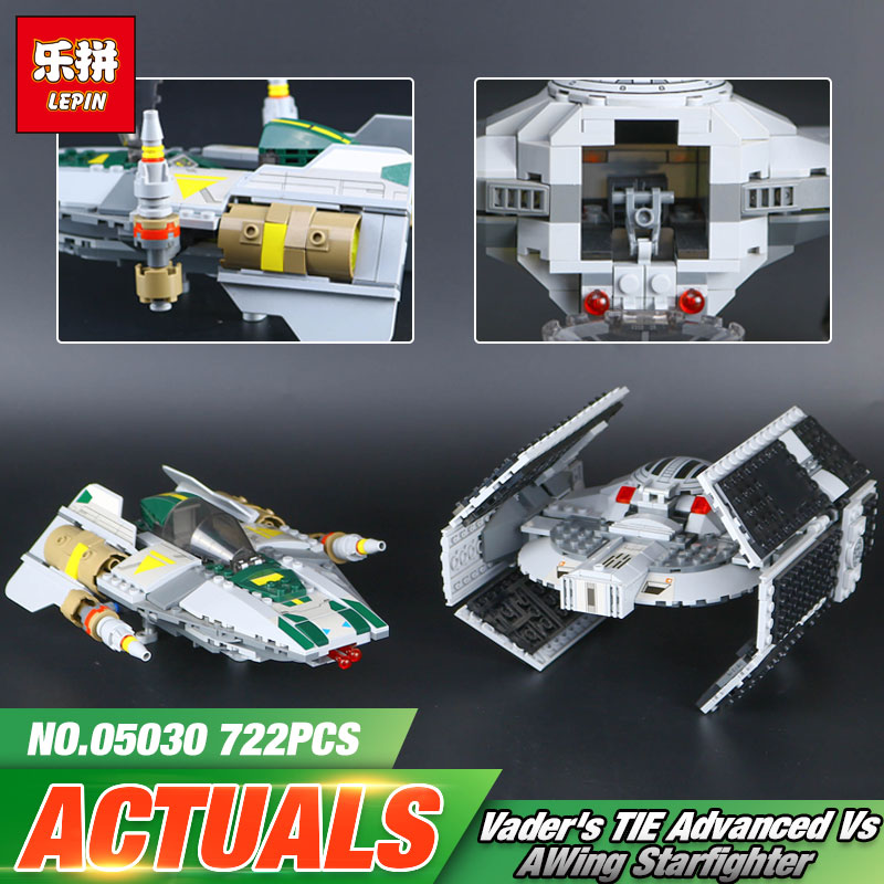 Lepin 05030 Star Toys Wars The 75150 Vader Tie Advanced VS A wing Star fighter Building Blocks Bricks Kid Toys Christmas Gift oleku hotsale star wars resistance x wing tie advanced prototype micro fighter starwars the wookiee gunboat building blocks toys