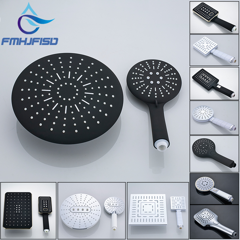Rainfall Shower Head Showerheads Rain Shower Water-saving Switch With Hand-held Shower Nozzle Stop ABS Plating Round & Square