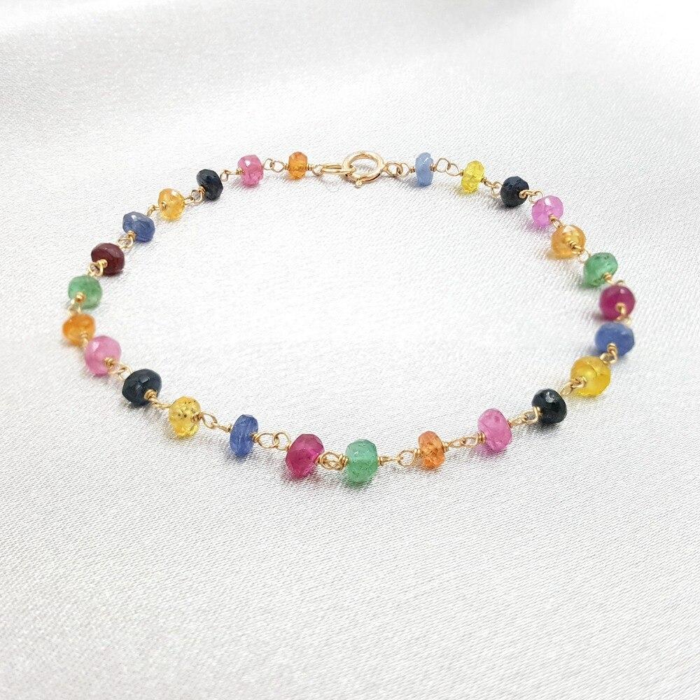Saphirs arc-en-ciel naturels Rubys émeraudes 925 argent sterling couleur or à la main tricot brillant Bracelet