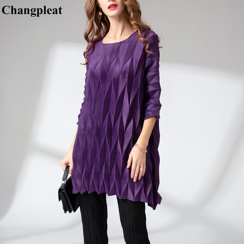 Mode Plissée T Changpleat Marée Taille Femelle Design shirts black Printemps De Grande shirt Red 2019 wine Purple Lâche Miyak Solide Femmes Tops Élastique T Nouvelle F8PFqw