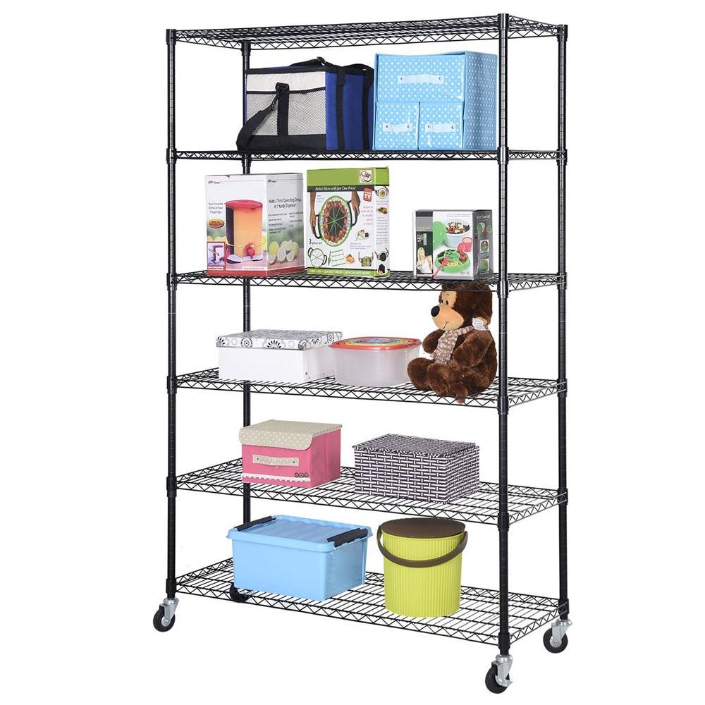 IKayaa US Stock 6 Shelf Rack Shelving Storage Wire Home Kitchen Shelves  Metal Close Kitchen Bathroom