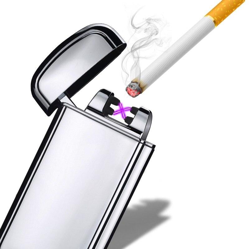 Dual Arc Electronic USB Lighter Flameless Cigarette Lighter Shake Ignition Plasma Rechargeable Lighter Smoking Gadgets for men