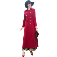 S XXXL Winter Wool Long Coat British Style Double Breasted Overwear Plus Size Luxury Trench Women Red Coat DZ2003