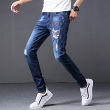 2019 Brand pencil ripped pants jeans men distressed fashion hip hop style slim fit blue plus size 29-38 homme denim trousers