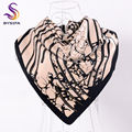 [BYSIFA] Black Beige Square Scarves Wraps New Accessories Geometric Floral Turkey Head Scarf Ladies Silk Scarf Shawl 100*100cm