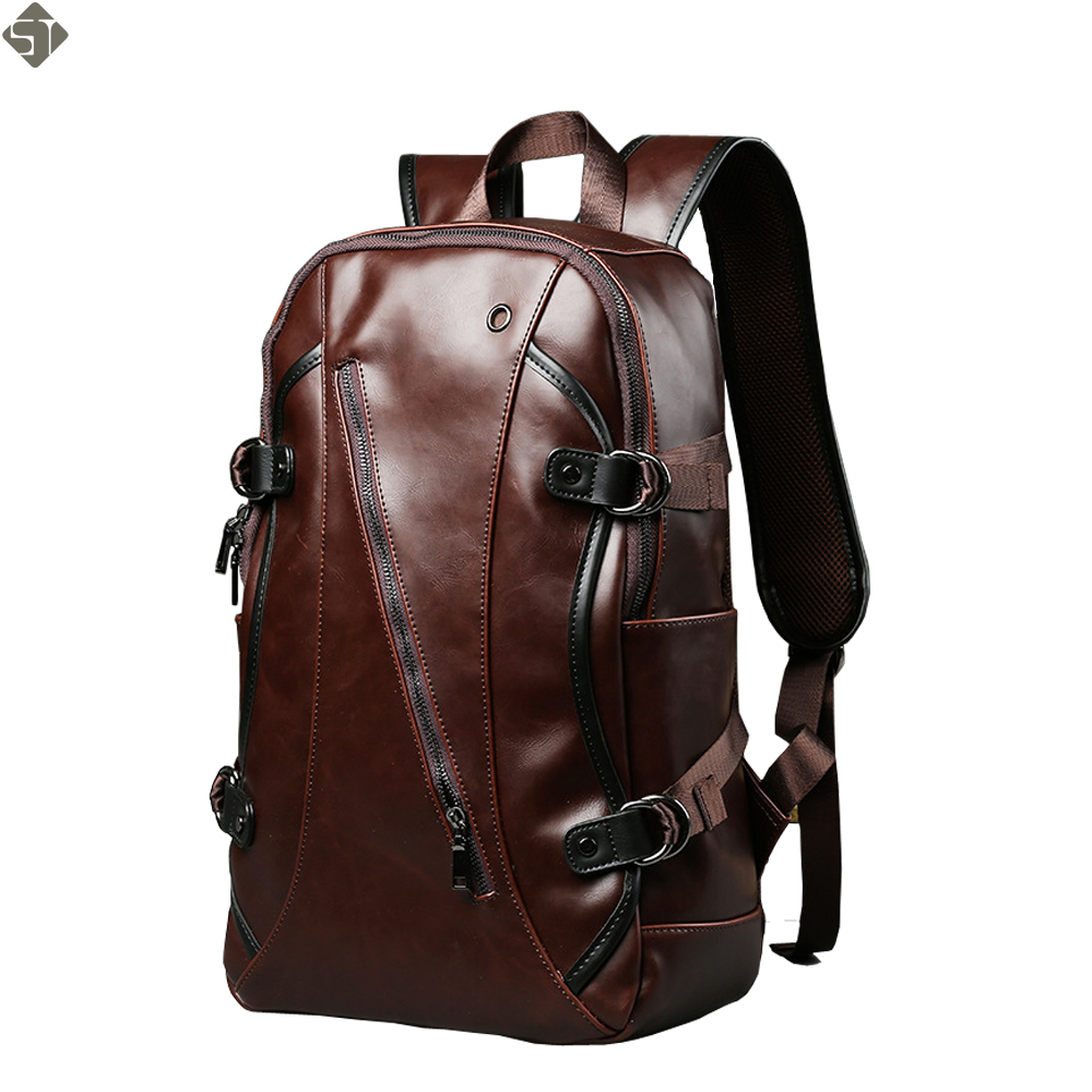New Retro men backpacks Crazy horse Leather 14-inch computer backpack bag Students school bag color Brown 45*26*10cm aetoo crazy horse leather leather classic classic men s 14 inch business portable computer bag