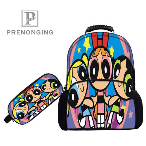 Custom 17inch The_powerpuff  Backpacks Pen Bags 3D Printing School Women Men Travel Bags Boys Girls Book Computers Bag#1031-5-54