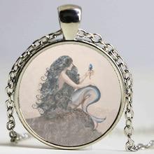 Mermaid Pendant Necklace dingyi 2017 New Fashion Round Glass Necklace Mermaid Murano Glass Pendants Free Shipping
