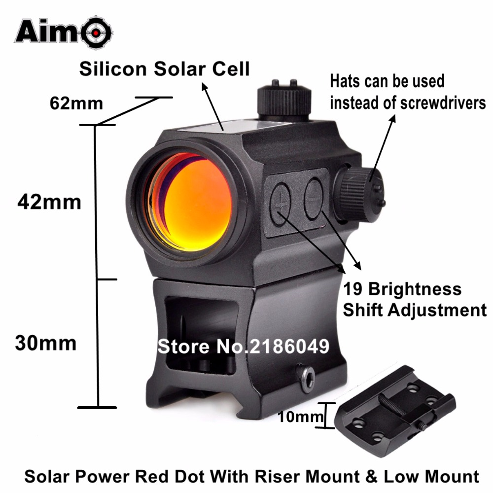 Aim-O Red Dot Gun Scope Optic Sight Holosun Aiming Device QD High Rail Riser Mount Kill Flash Filter Combo AO5069
