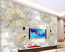 beibehang Fashion beautiful papel de parede wallpaper dimensional high-definition court jewelry diamond flower background wall