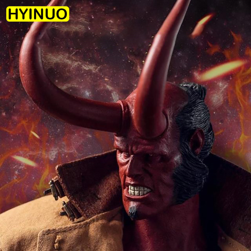 Head Sculpt with Full Horns 1//6 Scale Toy HELLBOY