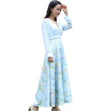 Women Summer Fairy Dress 2016 Lady Retro Floral Print Dresses Sexy Party Deep V-Neck Dress Robe Longue Vestidos