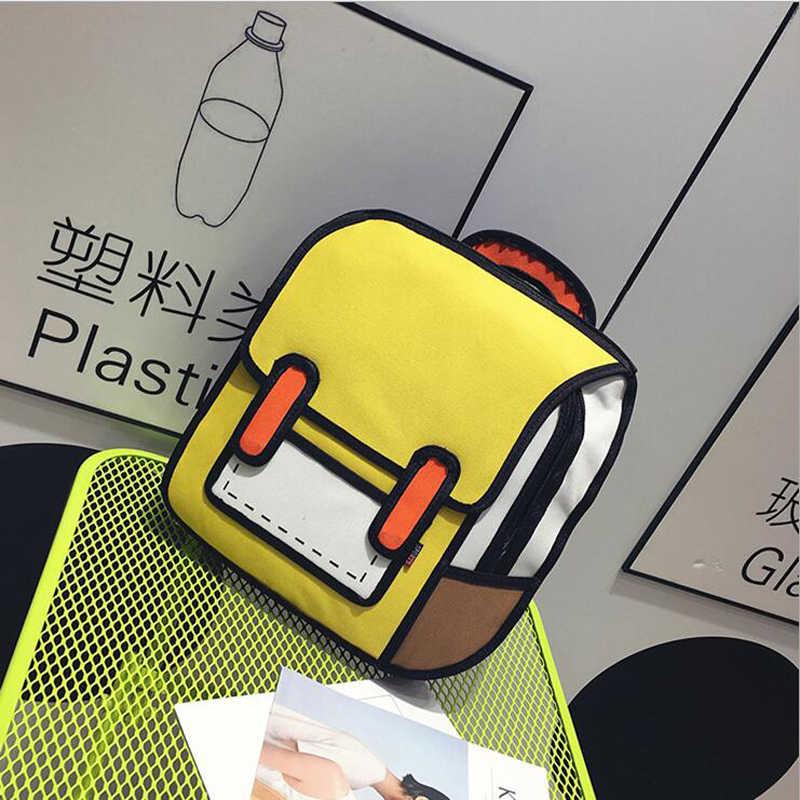 Marke Design Frauen Rucksack 3D 2D Zeichnung Cartoon Zurück Tasche Comic Messenger Tote Fashion Cute Studenten Wasserdichte Taschen Unisex 148