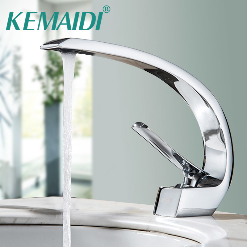 KEMAIDI Polished Elegant Bathroom Chrome Brass Faucet Single Handle Vanity Vessel Sink Mixer Tap Basin Sink Tap Deck Mounted solid brass chrome bathroom vanity sink mixer tap deck mounted single handle