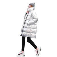 Fashion Ladies Long Parka Glossy Silver Winter Jacket Women's Thick Oversized Cotton Padded Coat Female Warm Parkas 2019