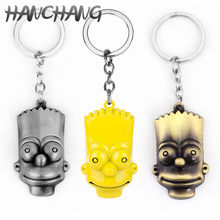 Anime Cartoon The Simpsons Homer J. Simpson And Bart Simpson Family Pendant Keychain Key Ring Funny Family Gaes Jewelry(China)