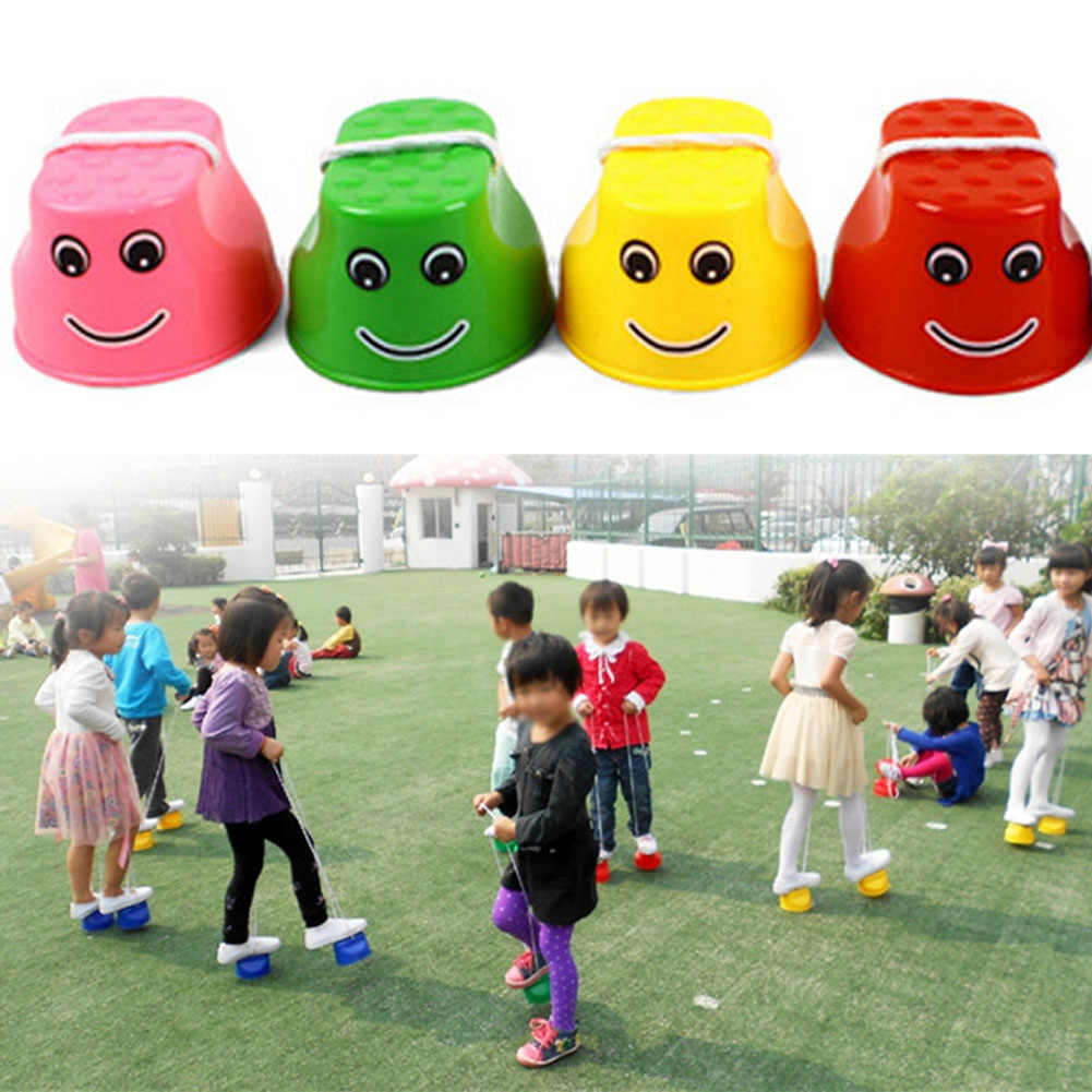 2PCS Outdoor Plastic Balance Training Smile Face Jumping Stilts Shoes for Children Walker Toy Monster Feet Fun & Sports