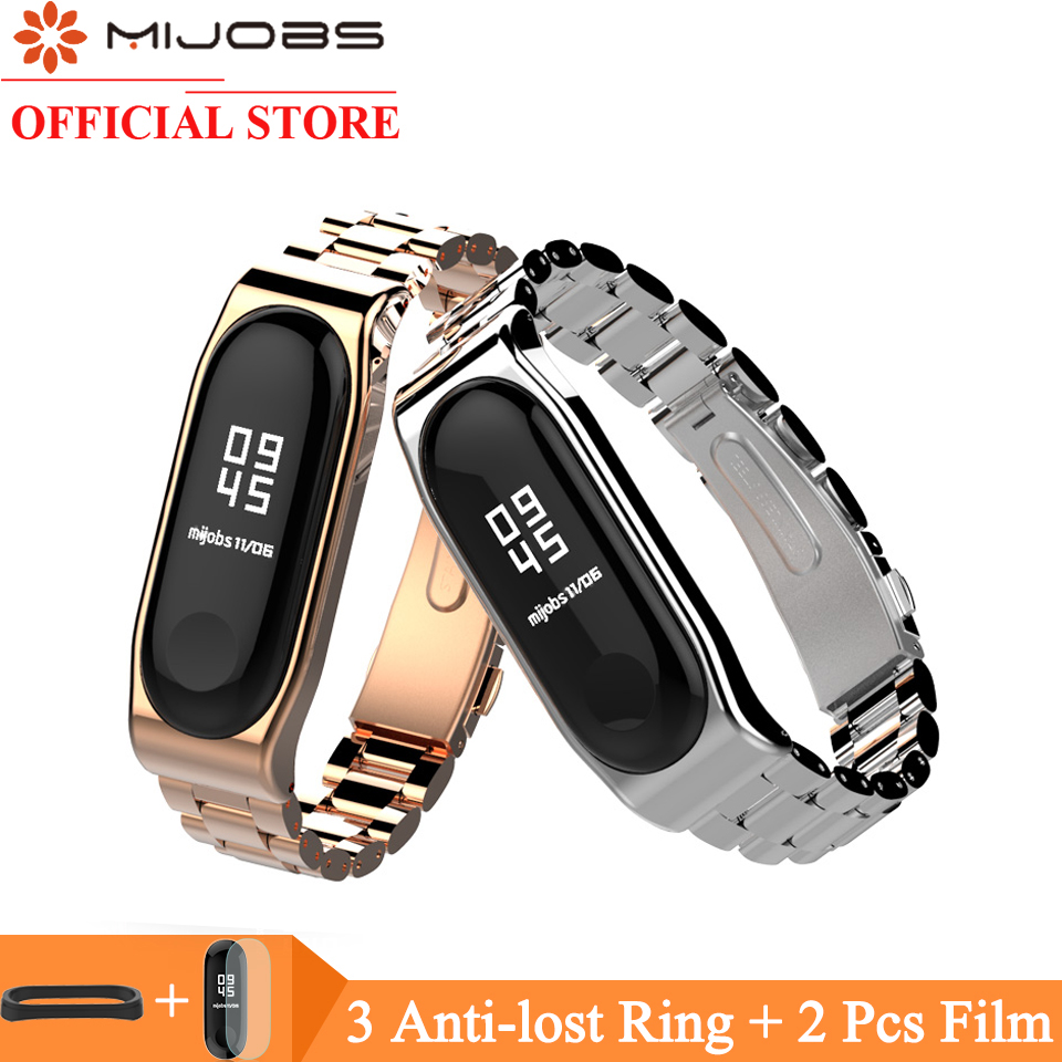 Mijobs Mi Band 3 Wrist Strap Metal Stainless Steel for Xiaomi Mi Band 3 Wristband Smartwatch Mi Band3 Wrist Bracelet Miband3 Mi3 new mi band 3 bracelet wrist strap mi band3 smart band strap miband3 wristband black metal for xiaomi mi band 3 strap