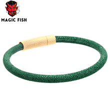 Magic Fish Men Stingray leather bracelets&bangles Titanium Steel buckle Drop shipping Charms bracelet lovers'pulseira masculina цена 2017