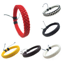 Men Hand-woven Fashion Rope Bracelet Surfer Multi-color Cuff Adjustable 1 piece Simple Leather Unisex Bangle(China)