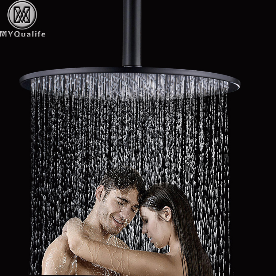 16 inch Large Rain Shower Head Ceiling Mounted Brass Shower Head with Shower Arm Black Round Shower Head Faucet Accessory 6 inch round brass shower head