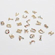 26 adet/grup renkli moda altın A Z alfabe DIY Charms kolye mikro açacağı zirkon pirinç harfleri harfleri aksesuarı