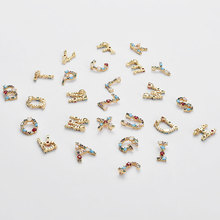 26 unidades por lote, colgante Multicolor de Oro a la moda de A Z, alfabeto, DIY, Micro pavé de circón, letras iniciales de latón, accesorio