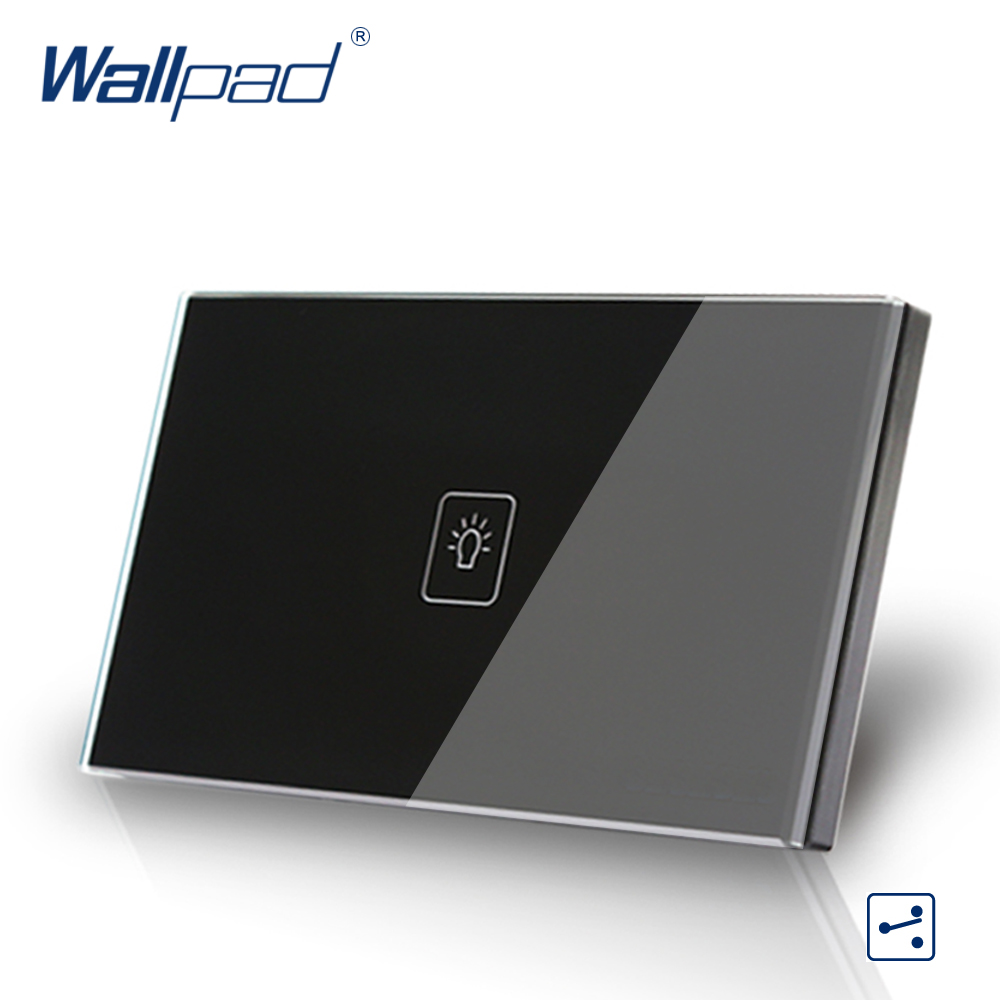 US/AU standard Wallpad Touch switch 1 gang Touch Screen Light Switch 2 way Black Crystal Glass Panel Free Shipping free shipping us au standard touch switch 1 gang 2 way control crystal glass panel wall light switch kt001dus
