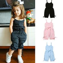 Милая детская одежда для маленьких девочек; летний хлопковый комбинезон без рукавов с открытой спиной; комбинезон в полоску; Прямая поставка